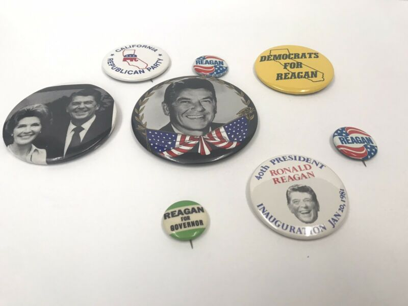 Ronald Regan Pin Button Lot 1980s Republic 80s President Governor Vintage