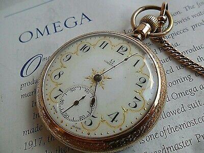 Gold Filled & Gold Leaf Dial Antique 1904 Omega 17 Jewel Open Face Pocket Watch