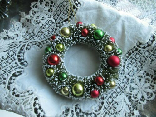 """New Bottle Brush Christmas Tree Ornament Wreath Multi Color Balls """"Snow"""" Tipped"""
