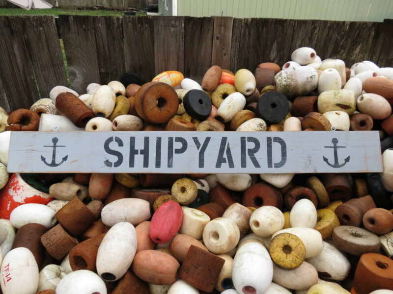 48 INCH WOOD HAND PAINTED SHIPYARD & ANCHOR SIGN NAUTICAL SEAFOOD (#S501)