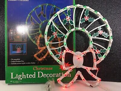 "Vintage 17"" inch Christmas Lighted Wreath Door Decor Indoor Outdoor 1999 Xmas"