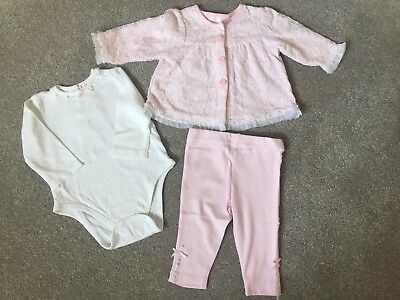 Little Me Baby Girl Jacket, Leggings And Body 3 Piece Lace Outfit. 6 Months