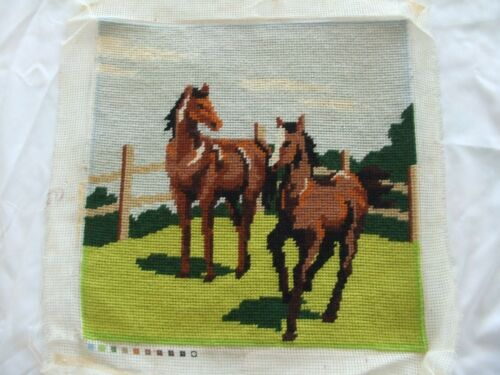 Vintage Needlepoint Of 2 Horses In Field