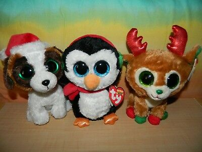 """Lot of 3 TY BEANIE BOOS Holiday CHRISTMAS NWT 6"""" ALPINE North PRESENTS"""