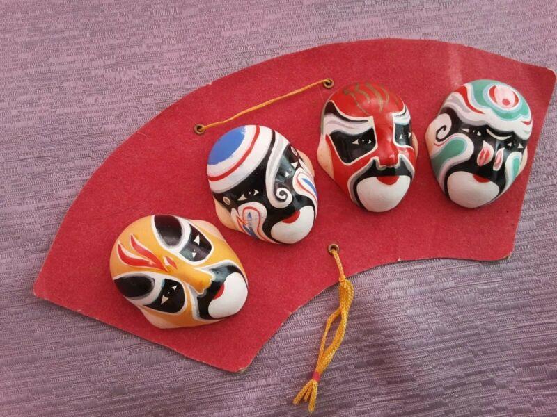 Wall Decoration Miniature Hand Painted Opera Masks-Set Of 4
