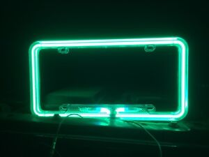 Neon green license plate frame.
