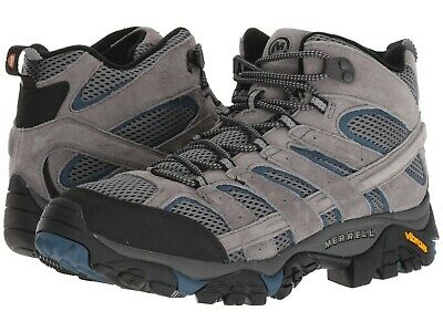 NEW Mens MERRELL Moab 2 Vent Castle Grey Wing SUEDE LEATHER Hiking Boots GENUINE Grey Hiking Boots