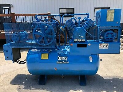 Quincy 350 Qrb Air Compressor Duplex 7.5 Hp 3-phase 200 Gallon Receiver Tank