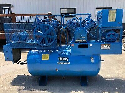 Quincy Qt15qrb Air Compressor Duplex 7.5 Hp 3-phase 200 Gallon Receiver Tank
