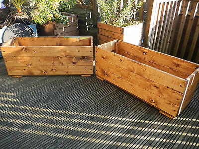 2x  large wood garden planters plant pots pre treated ready to plant