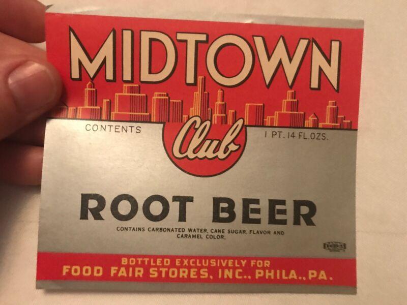 MIDTOWN Vintage Root Beer Label, Food Fair Stores, Philadelphia., Pa.