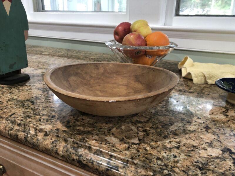 "Vintage hard wood bowl primitive mixing dough 11"" Wide"