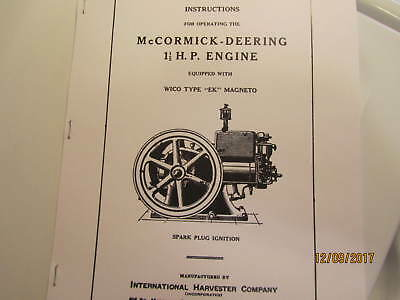 1931 Mccormick Deering 1 12 Hp Engine Operating Instructions Manual With Ek Mag