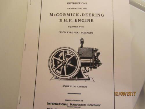 1931 McCormick Deering 1 1/2 HP Engine Operating Instructions Manual with EK mag