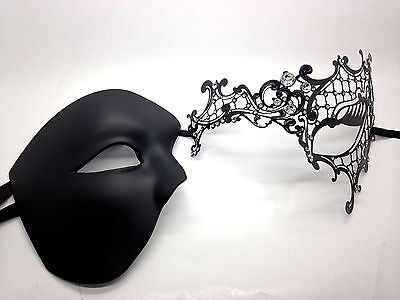 COUPLE HALF FACE BLACK PHANTOM MASK & METAL ONE EYE VENETIAN MASQUERADE MASK