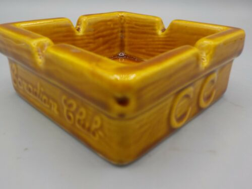 Vintage Canadian Club Imported Whiskey Gold Pottery Ashtray Advertising Dish Exc