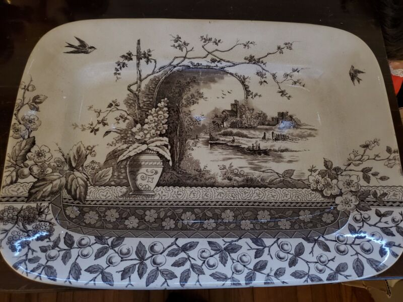 """ANTIQUE Burgess & Leigh HILL POTTERY #56790 RUSTIC Serving Platter - 16"""" x 11.5"""""""