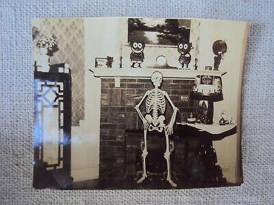 1930 Halloween Decorations (Halloween Decorations Unusual Mantel Black & White Photo 1930s Original)