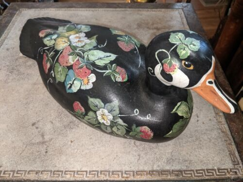 Gorgeous Vtg Hand Tole Painted Strawberries Ceramic Duck Signed N Weaver 12 1/2""