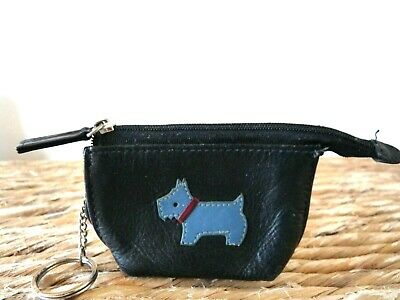 Small Black Blue Dog Real Leather Radley Zipped Coin Purse
