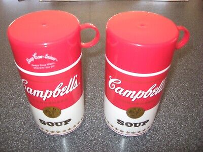 2 Vintage Campbell's Soup Thermos Container Cup 1998 Insulated Licensed 11.5 Oz