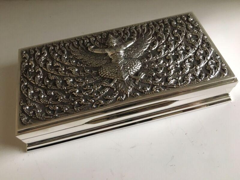 Thai Thailand Siam Sterling Silver Large Repousse Box Kinnari Figure 659 Grams