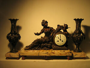 ANTIQUE-FRENCH-ART-NOUVEAU-MANTLE-CLOCK-SET-SIGNED-L-F-MOREAU