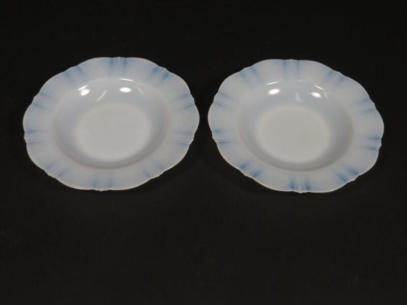 "(2) American Sweetheart Monax White Glass 9.5"" Soup Bowls"