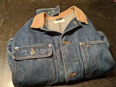 Vintage Ralph Lauren Polo Dungarees Denim Barn Jacket Tan Collar L Made in USA