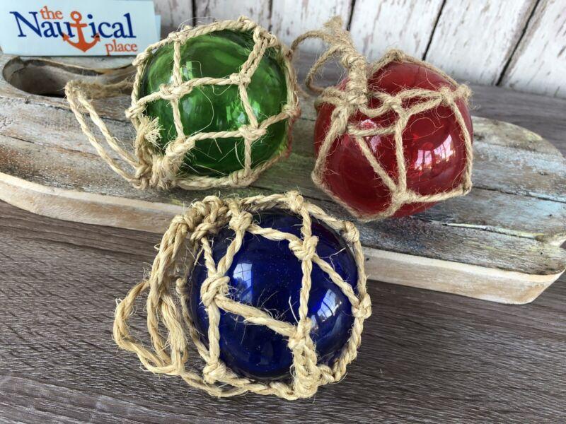 "(3) - 3"" Glass Fishing Floats ~ Fish Net Buoy~ Nautical Decor ~ Red, Blue, Green"