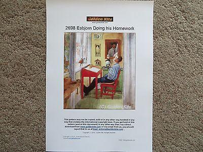60% Off Golden Kite counted x-stitch chart - #2698 Esbjorn Doing his Homework](Homework Chart)