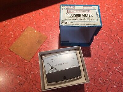 Nice Nos Vintage Dc Microamperes Panel Meter - Calectro 0-50 Ua Model Di-910
