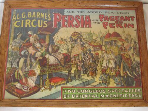 "Antique Al. G. Barnes ""Persia & the Pageant of Pekin"" Circus Poster c. 1930"