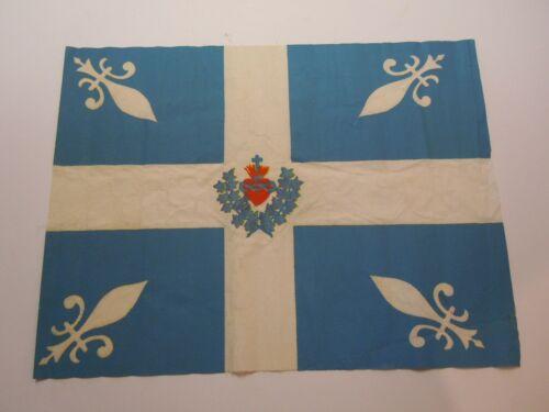 Antique QUEBEC Canada Flag CARILLON SACRED HEART Vintage old +- 1930