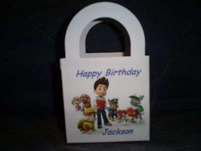 PAW PATROL Personalized Birthday Party 12 Favor Boxes / goody bags (Personalized Party Favor Bags)