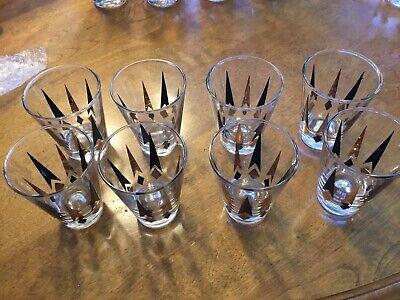 "Vintage Lot 9 MCM Black Gold Atomic Arrow Diamond Barware Glasses 3.5"""