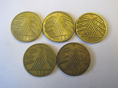 Weimarer Republik 10 Reichspfennig 1925 A, D, E, F, G    #2298