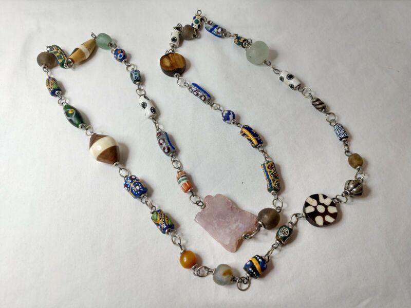 """Vtg African Trade Bead Necklace Sea Glass, Amber, Pink Quartz Genuine Rare 48"""""""