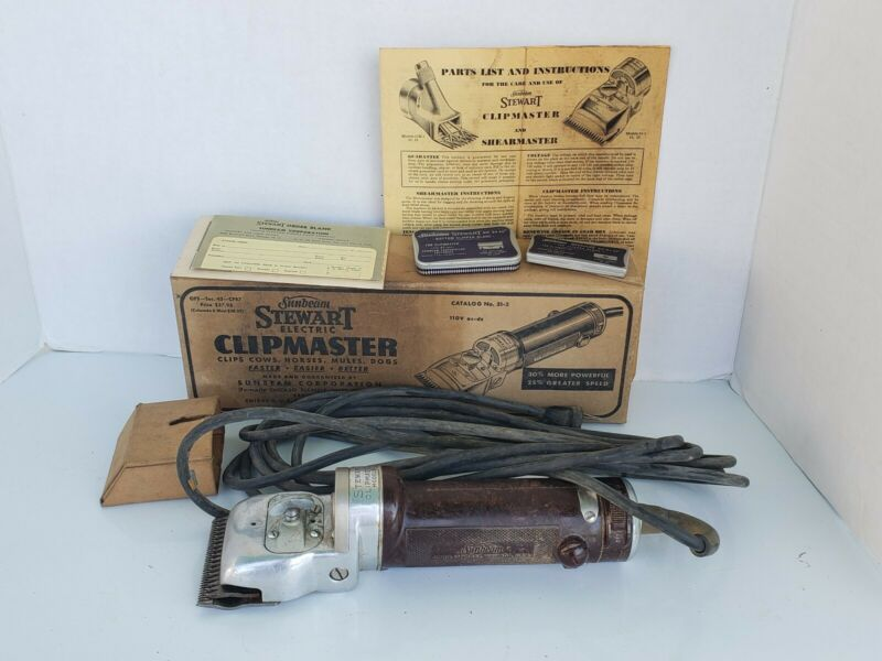 Vintage 1951 Stewart Clipmaster  Sunbeam 51-2 Livestock Clippers Original Box