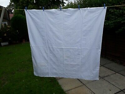 Vintage Large White Table Cloth Approx 60 ins x 62 ins Please Read Details