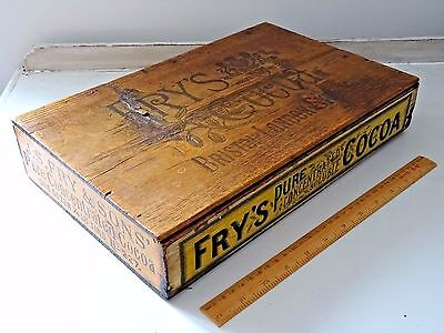 Vintage Antique Wooden Fry's Pure Cocoa Advertising Shop Display Box Hinged Lid
