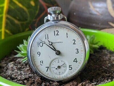 Vintage Ingersoll GB Ltd Hand Wind Pocket Watch - Working