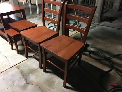 Solid wood chairs, entertainment unit, small nested tables
