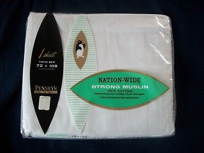 Vintage PENNEY'S NATION-WIDE FINE MUSLIN TWIN BED SHEET 72 x 108 NOS ()