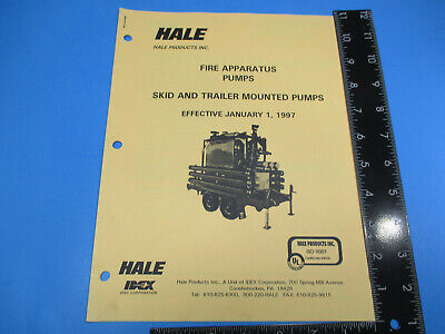 Vintage 1997 Hale Fire Apparatus Pumps Skid Trailer Mounted Price List M6608
