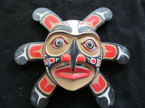 """CLASSIC NORTHWEST COAST DESIGN, """"SUN RAYS"""" CARVED WOODEN MASK  WY-0221*03473C"""