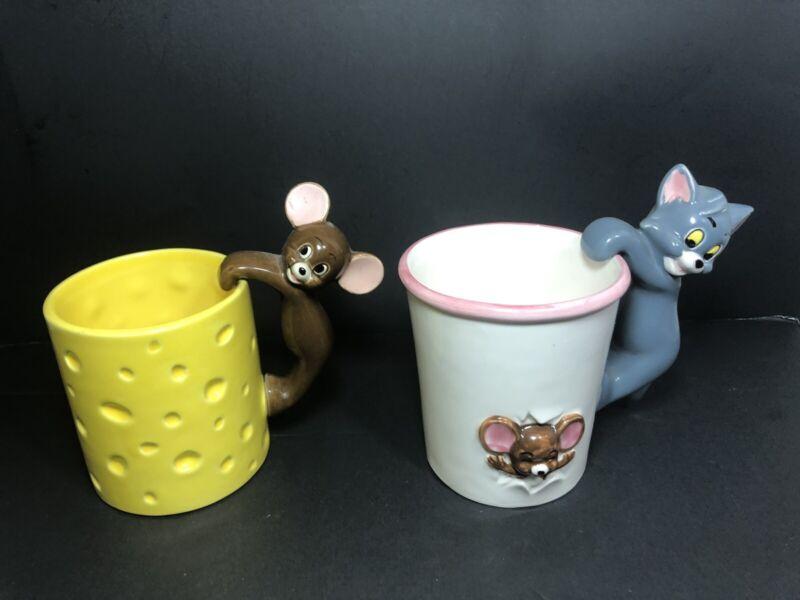 Vintage 1981 Gorham TOM & JERRY Ceramic Mug Set Cat & Mouse Cartoon MGM
