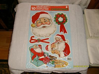 10 vintage eureka cut out flocked cardboard Christmas decorations new in package](Christmas Cut Out Decorations)