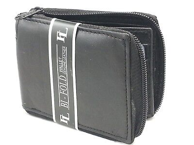 New Mens Bifold Zipper Around Leather Wallet Secure Multi Pockets Black -