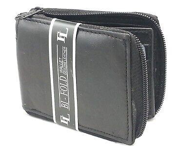 New Mens Bifold Zipper Around Leather Wallet Secure Multi Pockets Black Billfold Black Leather Zipper